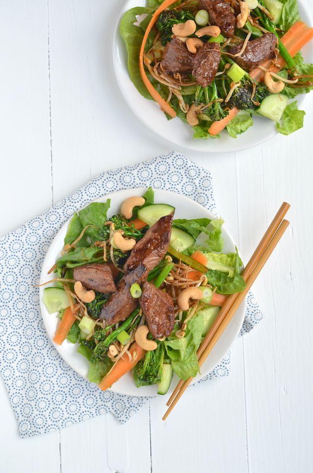 oosterse salade met biefstuk