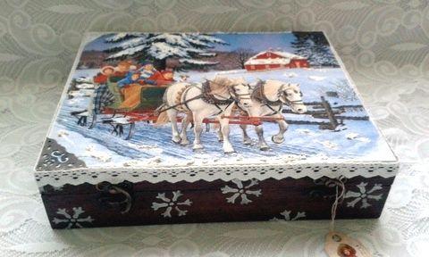 lovas-szán- karácsonyi nosztalgia doboz, Dekoráció, Otthon, lakberendezés, Karácsonyi, adventi apróságok, Karácsonyi dekoráció, Decoupage, szalvétatechnika, Festett tárgyak, Meska