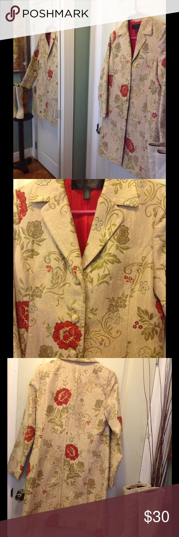 """Asian tapestry gorgeous long jacket Gorgeous gold/green/red Asian tapestry long jacket. In size 10 by apostrophe  60%polyester and 40%rayon. Fully lined in red satin   Bust measures 19""""x2. Waist 18""""x2. 2 pockets. 3 covered button details with pleated look on front for slimming effect 37"""" long sleeves 25"""" Apostrophe Jackets & Coats Pea Coats"""