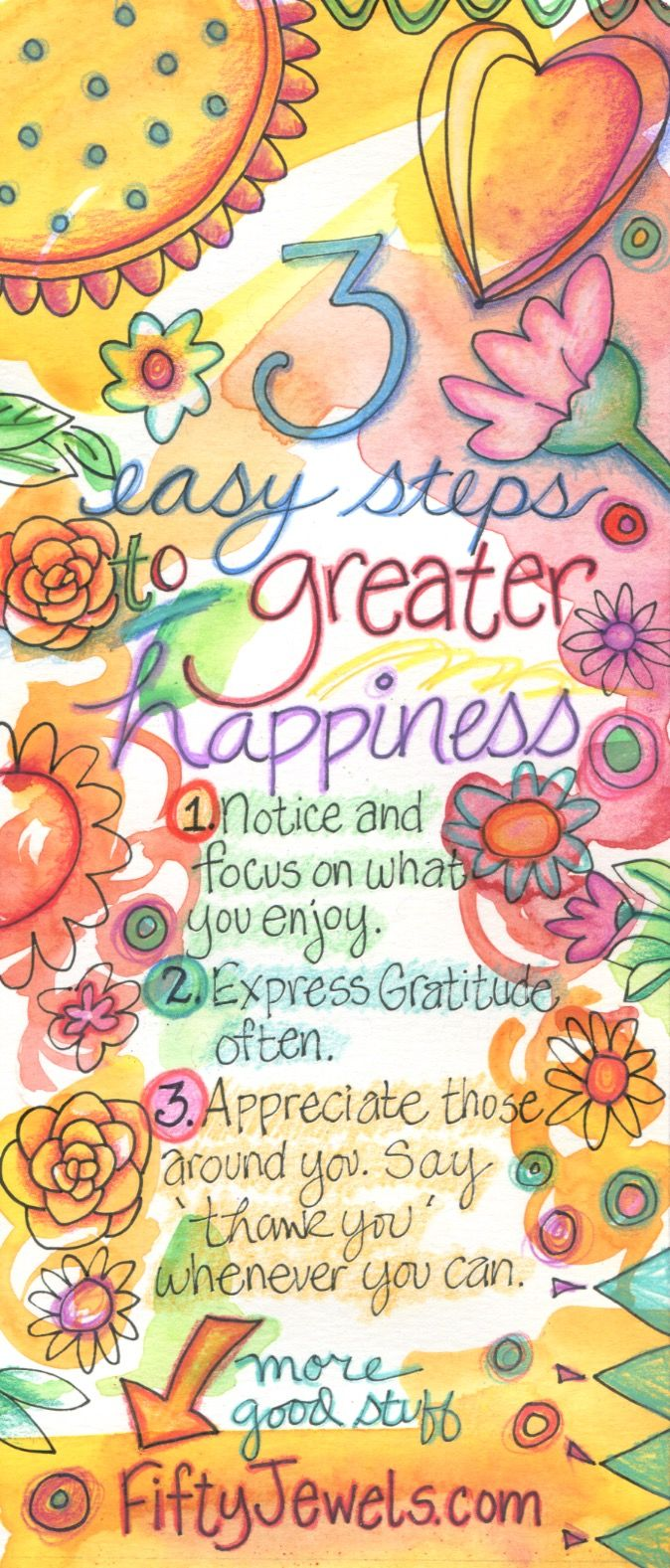 Gratitude super charges your Happiness! Use these easy tricks to add more Happiness into your life! Pin for later and CLICK to find out more!  http://FiftyJewels.com