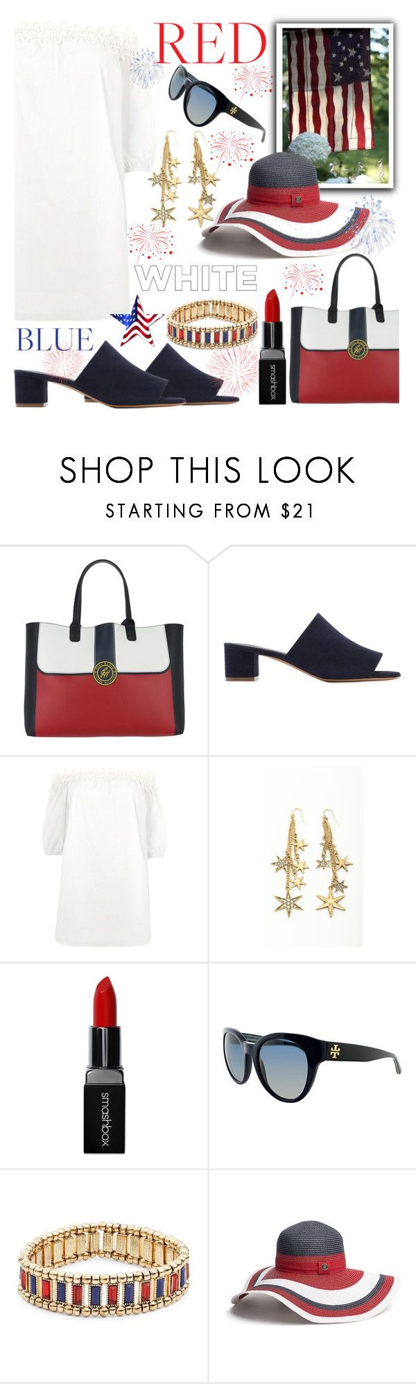 """""""Red, White & Blue: Celebrate the 4th!"""" by the-geek-goddess ❤ liked on Polyvore featuring Tommy Hilfiger, Mansur Gavriel, River Island, Smashbox, Tory Burch and Robert Rose"""