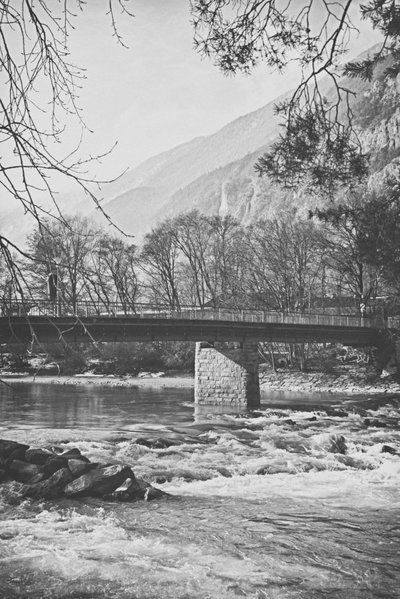 bwstock.photography - photo | free download black and white photos  //  #bridge #river #alps