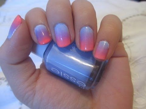 ♥ Nail tutorial: Quick & Easy Ombre Nails! ♥ - YouTube - I like the idea of cutting the sponge to fit the nail.