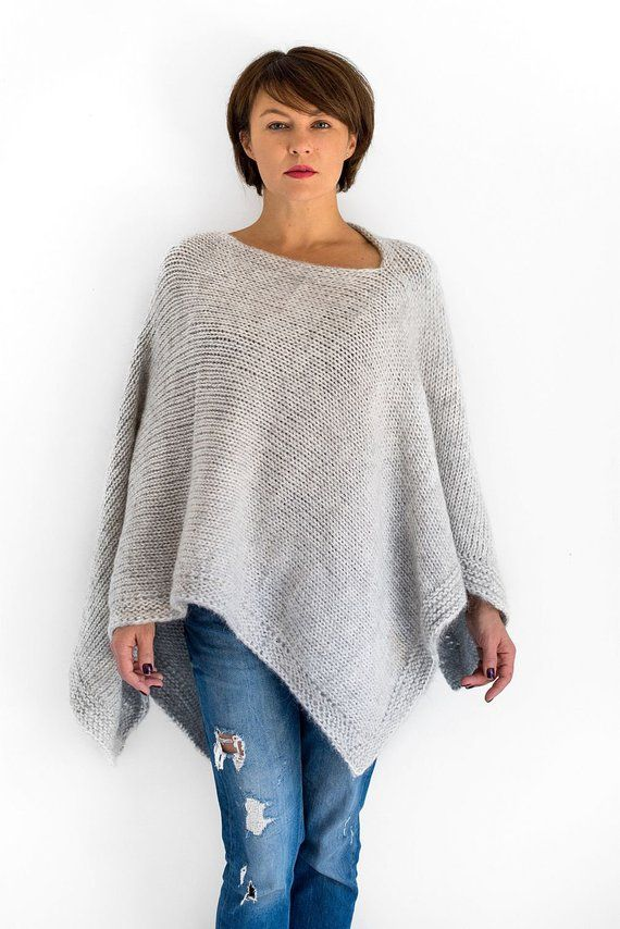 e53e4a6a6 Knit alpaca gray poncho cape for women | Poncho | Knitted poncho ...