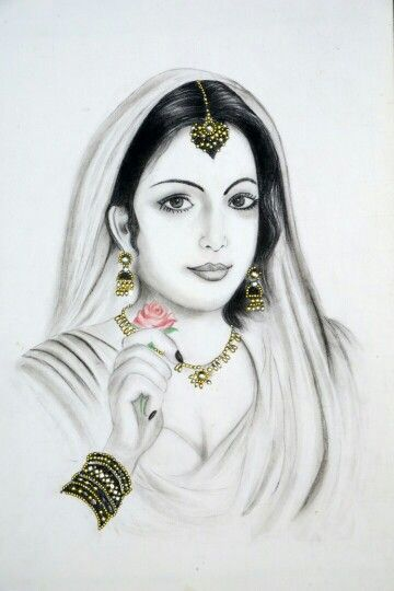Charcoal painting of an Indian lady