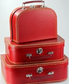 Childrens Mini Nesting Suitcase Set Of 4 Kids Storage Cases Red