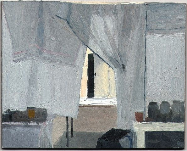 regnregn:   Eleanor Ray, Charlotte's Studio with Sheets,2013,Oil on Panel, 4 x 4 15/16""