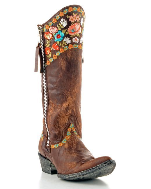 Gorgeous Boots. Old Gringo. Love the round top front, the sipper, the embroider, and the old leather look. MonaRAEbeads.com