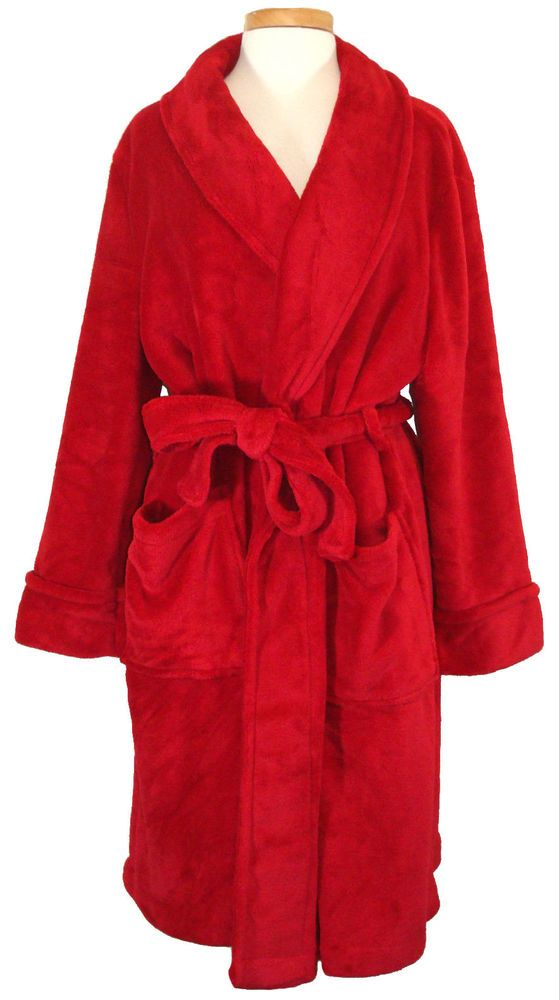 NEW Charter Club Womens Robe Supersoft Plush Belted Short Wrap Red Plus Size 1X #CharterClub #Robes