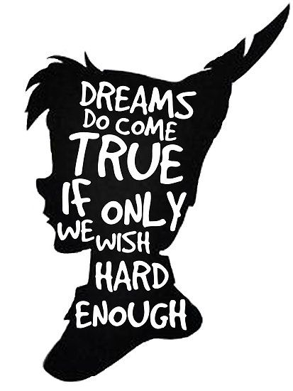Dreams Peter Pan Quote Silhouette | Art Print
