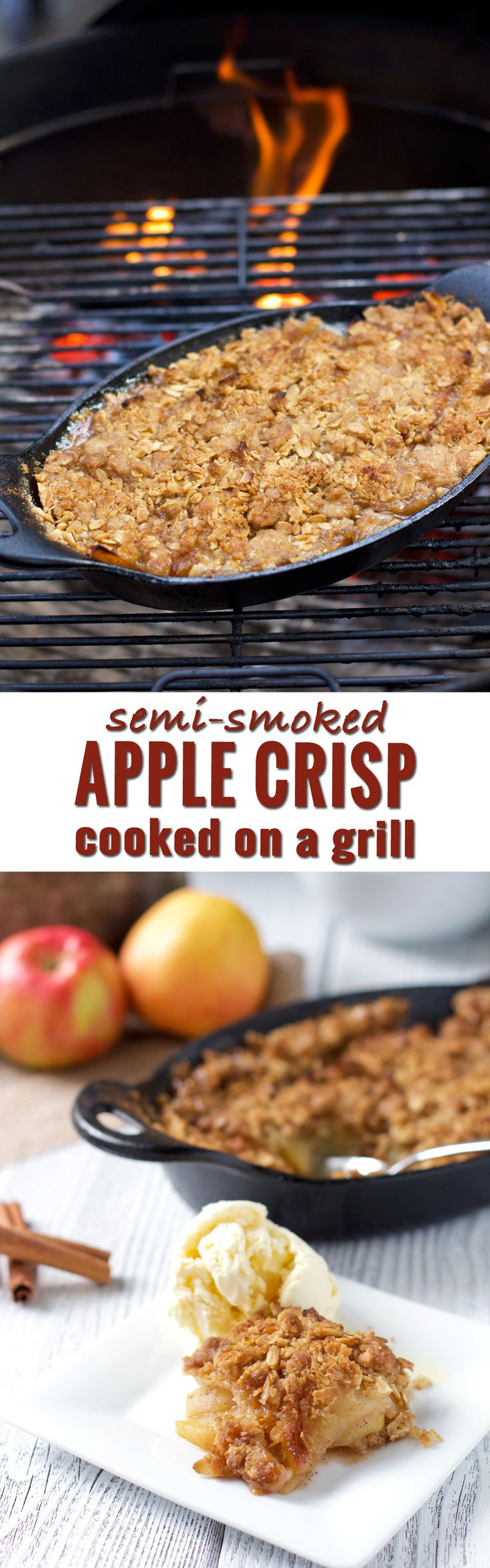 How to make an apple crisp on the grill (for four people). Did you know you can also add smoky flavor without needing a smoker? This is the perfect fall dessert for grill lovers. The entire family will love it!