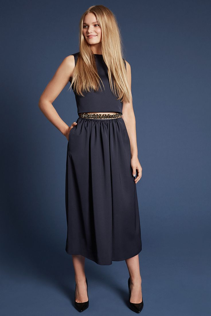 Mix & Match your perfect dress! OLIVIA-CHIARA in midnight blue with a crystal belt in leo. Own the night.