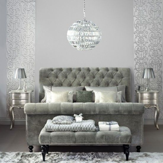 Glamorous pewter bedroom.   Turn your bedroom into a luxurious retreat with a sophisticated palette of pewter and platinum.  While the look is ultra-glamorous, the effect is easy to achieve if you keep to similar tones throughout the room. Mix shades and tints of the same colour, from dull pewter to polished platinum.