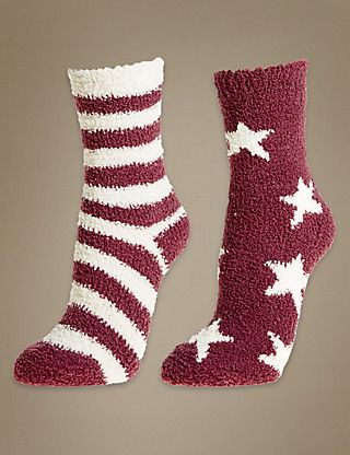 2 Pair Pack Striped Cosy Slipper Socks | M&S