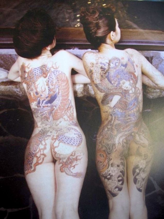 Japanese bath-house — 2 ladies, Yakuza style