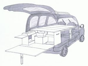 Campinambulle- A travel trunk for the trunk of your vehicle, with kitchen and bunk integrated implementation in less than 5 minutes.