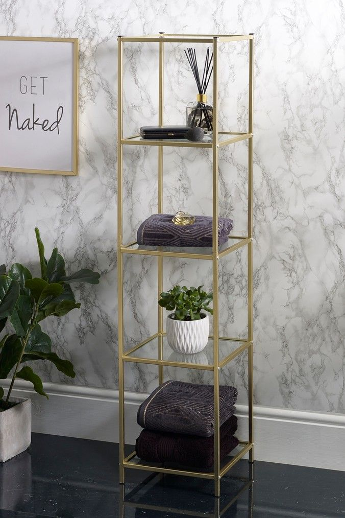 Next 5 Shelf Floor Standing Unit Gold Bathroom Decor Luxury Shelves Home Decor Furniture