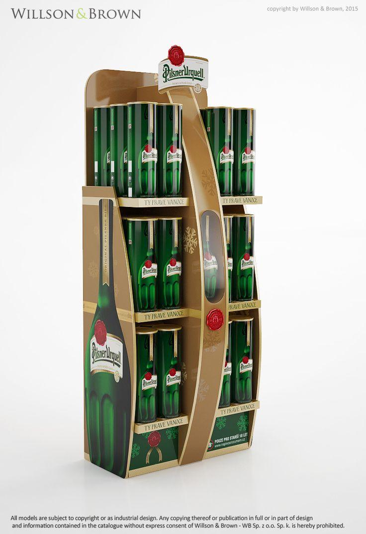 "Pilsner Urquell premium cardboard display, 1L Pilsner Urquell bottle, ""#""cardboarddisplay ""#""iluminatedbottle ""#""1LPilsnerUrquell ""#""Premiumstand ""#""Standonproducts"