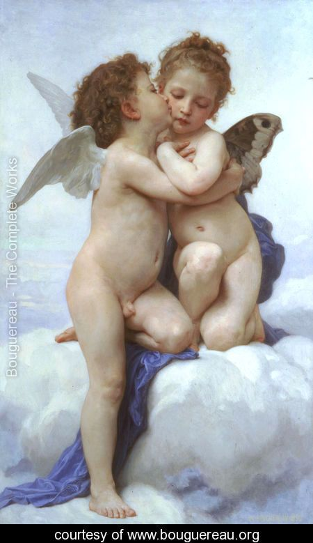 L'Amour et Psyche, enfants (Cupid and Psyche as Children) - William-Adolphe Bouguereau - www.bouguereau.org