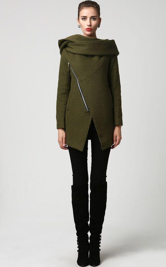 Moss Green jacket short coat wool coat Womens jackets by xiaolizi