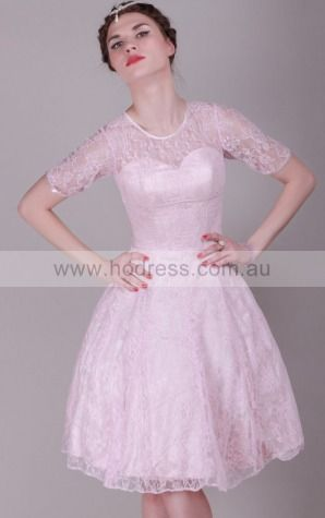 None Knee-length Natural Princess Lace Formal Dresses b1400007