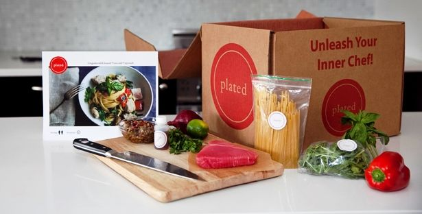 Plated is a prepackaged food preparation subscription service. First you choose either 2 or 3 dinner servings, then you choose how many dinners a week - 2 for $48 +$6 S&H, or 3 @ $72 or 4 @ $96 with free shipping, and which day of the week you would like your delivery. Each week they showcase a menu from which you can choose from the options that you would like to include in your delivery (desserts are optional). Get all the details at www.plated.com