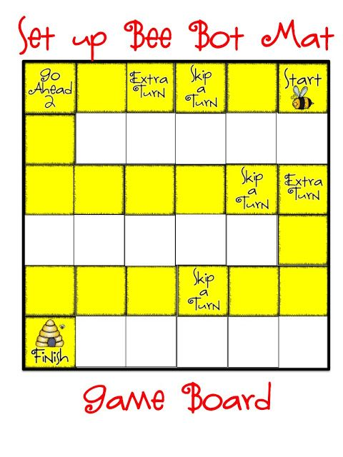 Bee bot game board for 3d shapes.