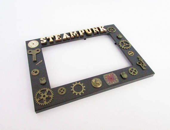 Steampunk photo frame handmade photo frame custom gift gift