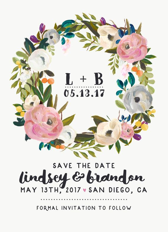 Save the Date DEPOSIT - Printable, Custom, DIY, Modern, Watercolor, Painted, Boho, Floral, Flowers, Calligraphy, Rustic, Chic (Design #62)