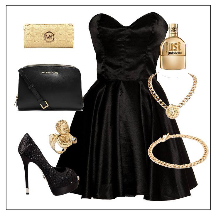 Платье из черного бархата, кошелек, позолоченная кожа, золотые аксессуары, туфли из черного атласа с отделкой стразами