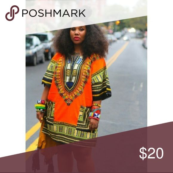 Orange/Multi Colored African Dashiki Shirt Dress Orange/Multi Colored African Dashiki Shirt Dress BRAND NEW IN ORIGINAL PACKAGING fits small-Xlarge Other