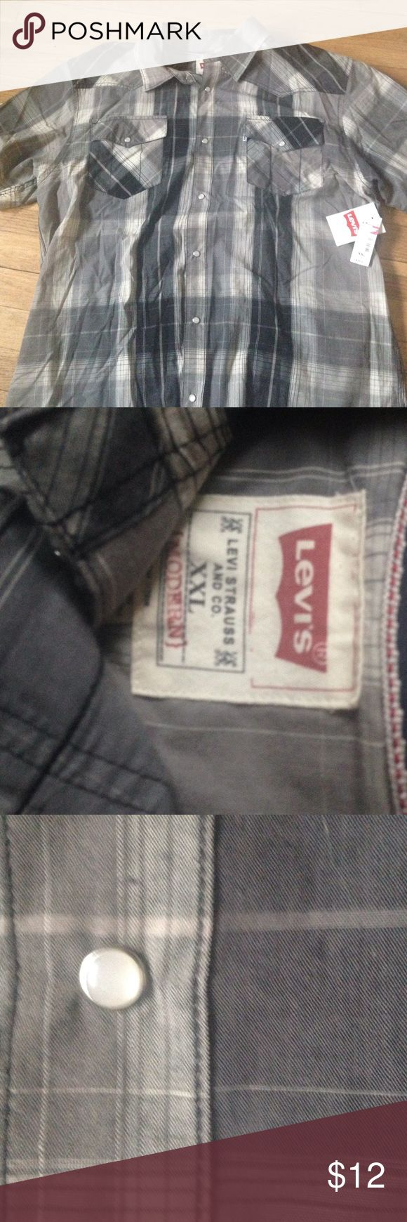Plaid short sleeve rockabilly men's shirt Brand-new in great holiday gift. Gray plaid made by Levi Strauss. Still has tags on it. Levi's Shirts Casual Button Down Shirts