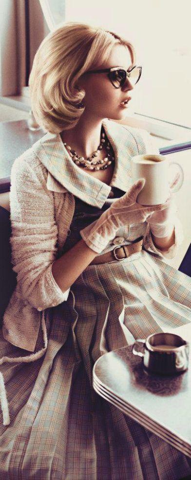 Elegance..soft colors, pleated dress and cardigan, gloves...very feminine.