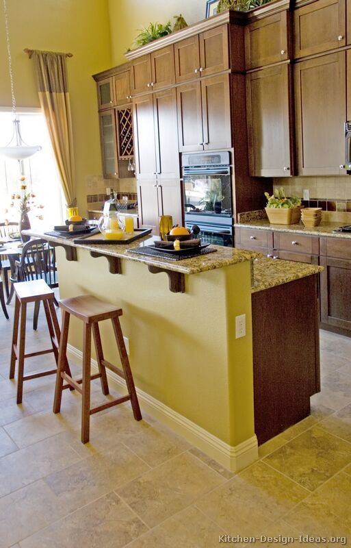 48 best yellow and brown kitchens images on pinterest for Dark orange kitchen