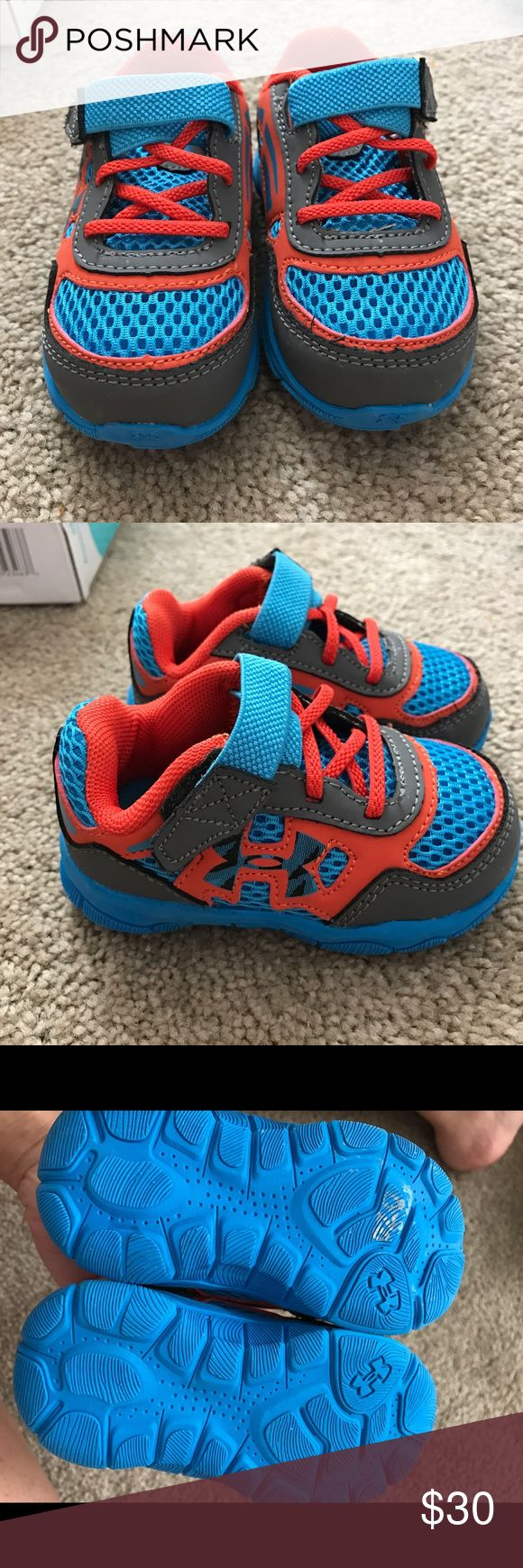 Under Amor boys shoes Worn once and way to small for my son now just forgot about these.. in EUC like new! Comes with box as well. Under Armour Shoes Baby & Walker
