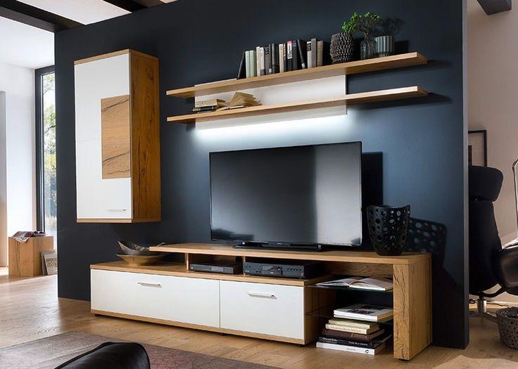Wohnwand Nizza Wohnzimmerschrank Crackeiche Mit Weiss Matt Lack 20631 Aus Der Serie Vom Hersteller MCA Furniture Modern Und Edel Das Sinddie