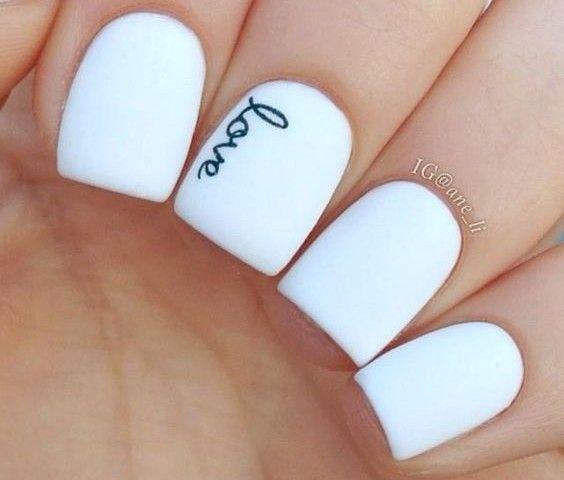 Simple Love Wedding Nail design
