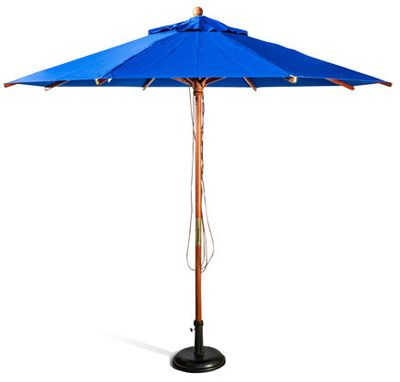 Get ready for summer - wide range of colours - whether for home or for outside your restaurant or bar.    Round wooden market umbrella, top end frame due to the heavy duty ribs and main pole. Fixtures solid brass or aluminium covered in brass, no rusting. Great Sun Umbrella with 100% UV blocking.  Code MK 2.7 Plan colour 8 Ribs 20mm x 30mm 48mm split main pole Brass L Clips to stop the rib rubbing through the fabric Planosol fabric, has a 5 year warranty.