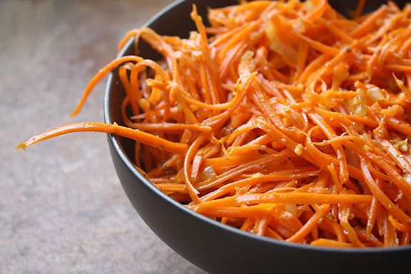 Korean carrots. Maybe actually not Korean: a Russian recipe with dubious Korean roots. In any case, I CRAVE this salad.