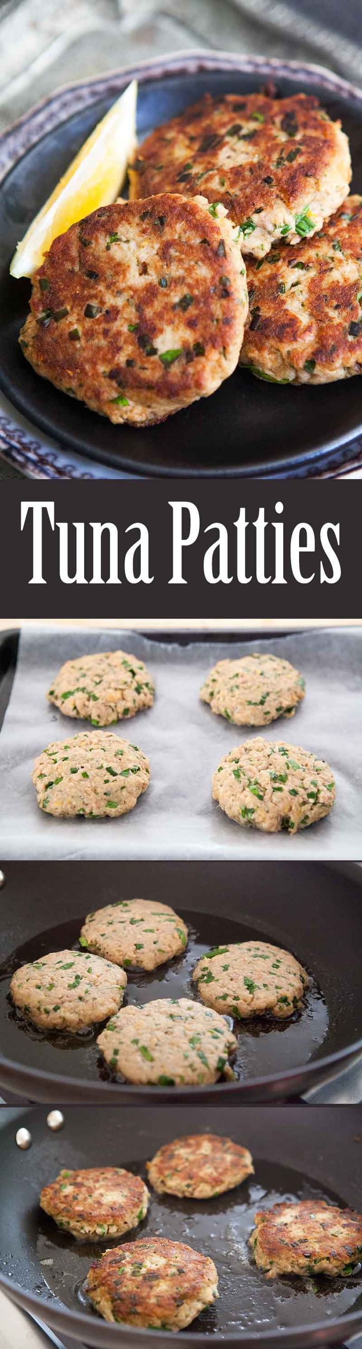 "Quick EASY healthy Tuna Patties! Easy to make, and easy on the budget. Best thing you can make with canned tuna. Your kids will LOVE them. On <a href=""http://www.simplyrecipes.com"" rel=""nofollow"" target=""_blank"">www.simplyrecipes.com</a>"