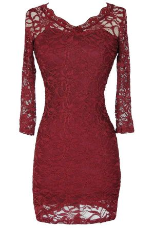 Open Back Fitted Lace Dress With Three Quarter Sleeves in Wine Red…