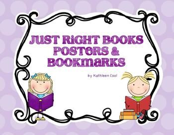Set of posters and bookmarks to teach students about choosing Just Right Books and using the 5 finger Rule.  In color and b/w.