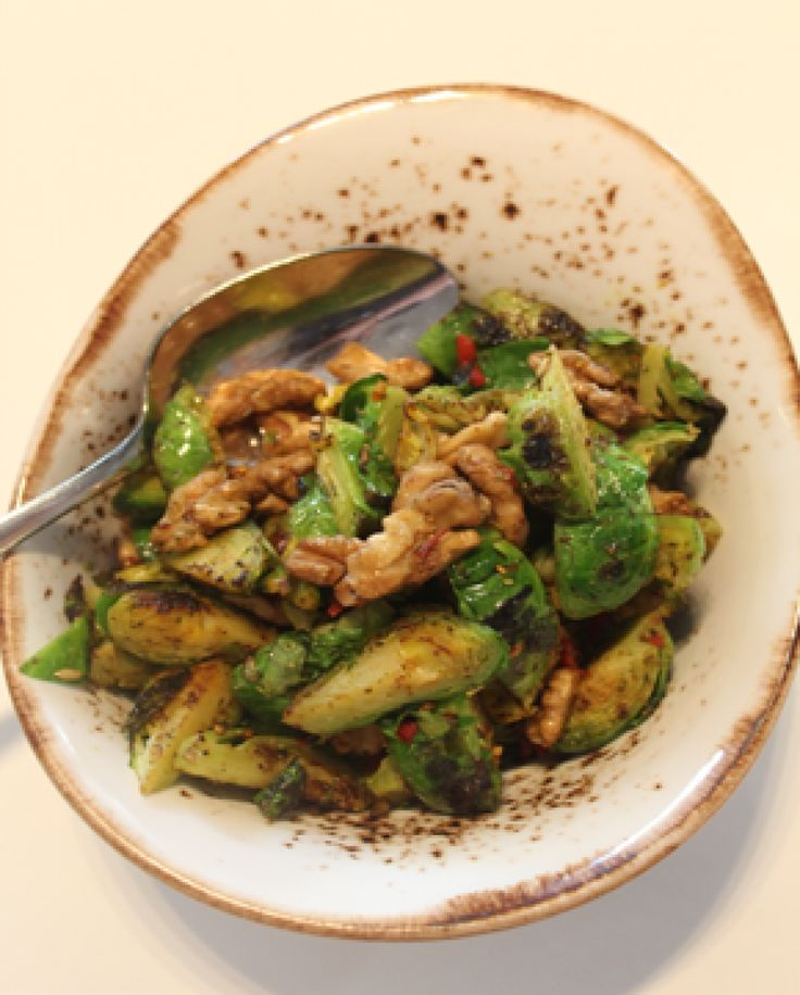 Spicy Moroccan Brussels Sprouts with walnuts