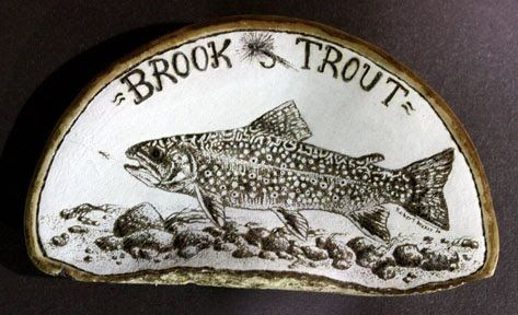 brook trout, pyrography on artist's conk
