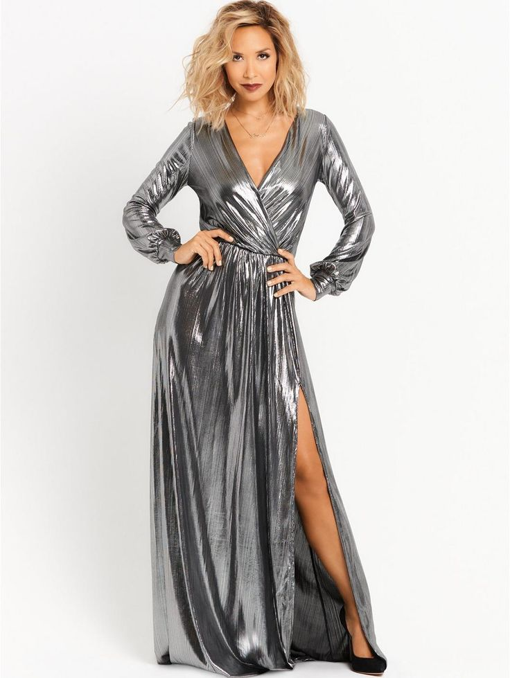 Deep V Front Metallic Maxi Dress - Silver, http://www.very.co.uk/myleene-klass-deep-v-front-metallic-maxi-dress-silver/1600096266.prd