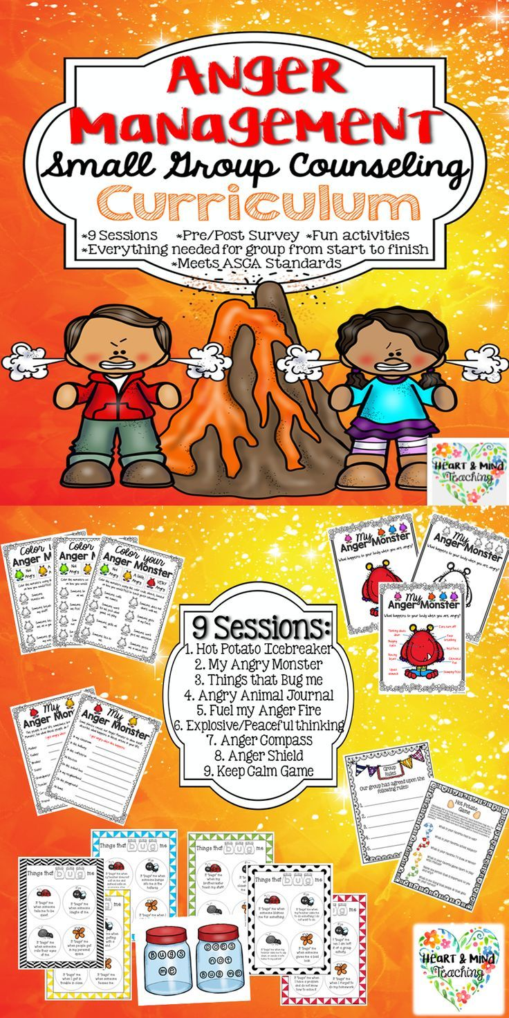Anger Management Small Group Counseling Curriculum, SEL lessons, Calming and coping strategies. The perfect curriculum for a School Counselor! I have also detailed each session clearly so that it could be used by any educator in a small group setting. Geared for elementary aged students.