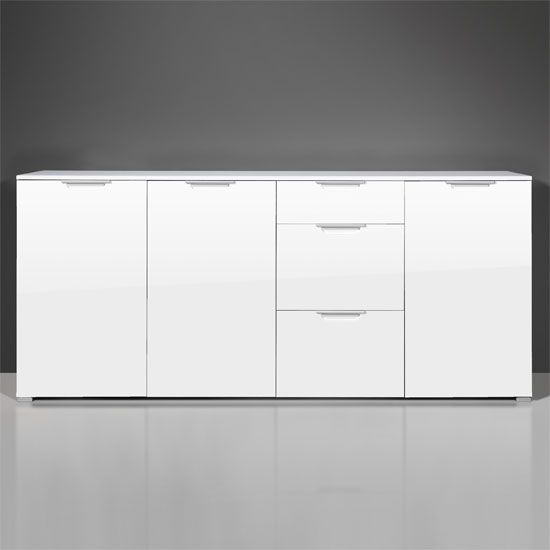 Features: • Contemporary gloss white dining room furniture • High Gloss white foil front doors & top for a great look• Stunning sideboard with a gloss white MDF fronts & top&...