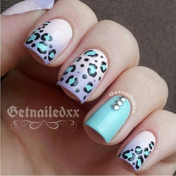 Leopard blush and mint nail art