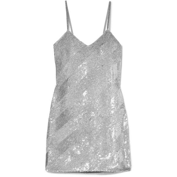 Ashish Striped sequined silk-georgette mini dress ($1,710) ❤ liked on Polyvore featuring dresses, vestidos, grey, silver, sequin mini dress, sequin party dresses, high-low dresses, sparkly party dresses and short dresses