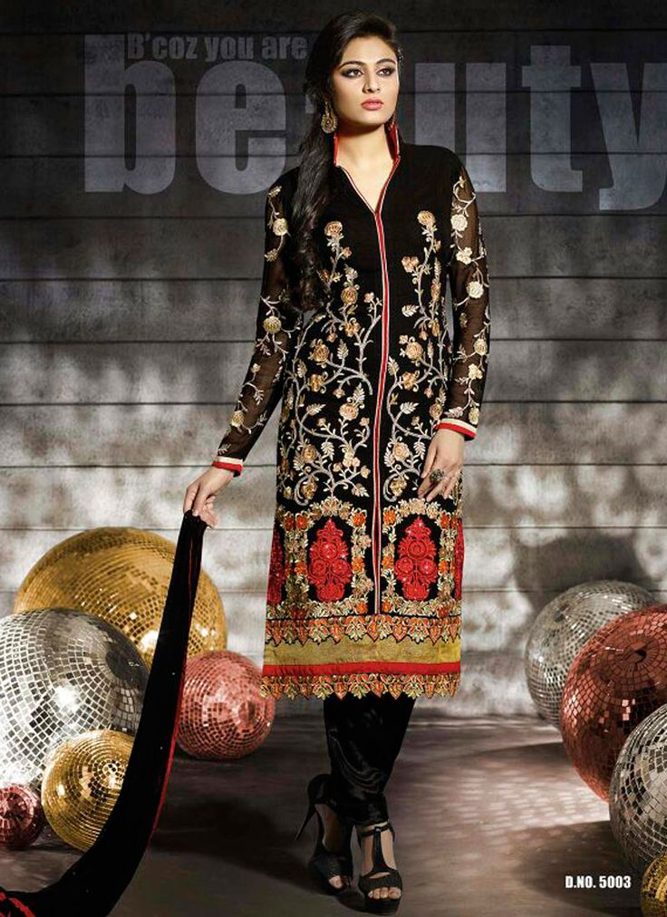 Stunning Black Georgette Churidar Salwar Suit Product Code :14342 shop now http://www.sareesaga.com/stunning-black-georgette-churidar-salwar-suit-14342  Email : support@sareesaga.com What's App or Call : +91-9825192886